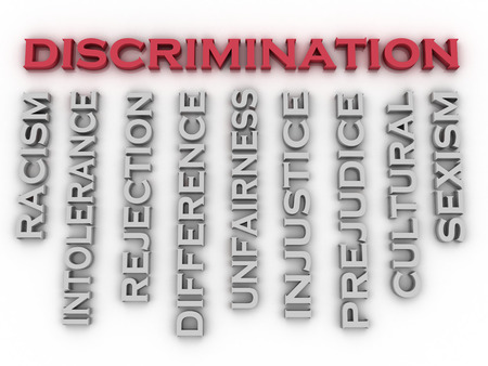 unfairness: 3d image Discrimination  issues concept word cloud background