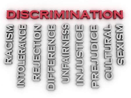 discriminacion: Imagen 3d Discriminaci�n emite concepto de nube de palabras de fondo