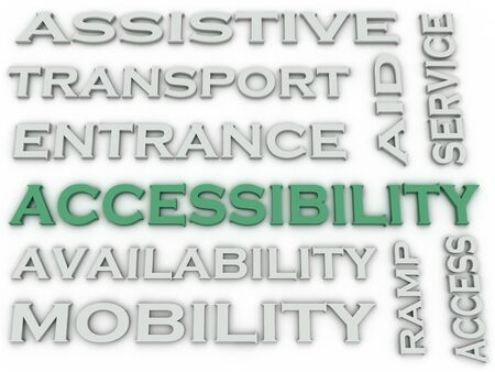 assistive: 3d image Accessibility  issues concept word cloud background