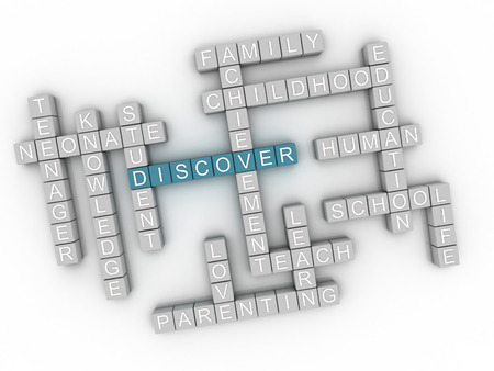 discover: 3d image Discover  issues concept word cloud background