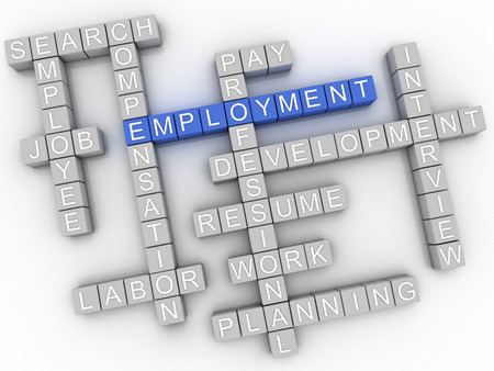 employment issues: 3d image Employment  issues concept word cloud background