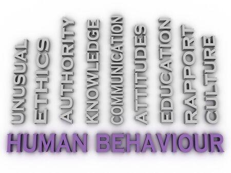 sociologia: Imagen El comportamiento humano 3d emite concepto de nube de palabras de fondo