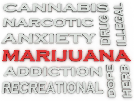 reefer: 3d image Marijuana  issues concept word cloud background Stock Photo