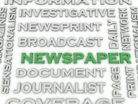 investigative: 3d image Newspaper  issues concept word cloud background