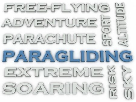 paragliding: 3d image Paragliding  issues concept word cloud background Stock Photo