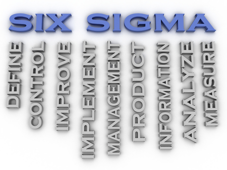sigma: 3d image Six sigma  issues concept word cloud background