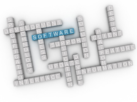 software package: 3d image Software  issues concept word cloud background