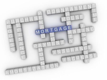 refinance: 3d image Mortgage issues concept word cloud background