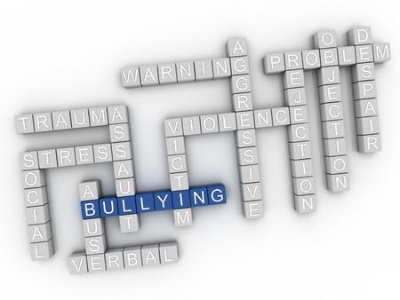 acoso laboral: Imagen 3d Bullying emite concepto de nube de palabras de fondo