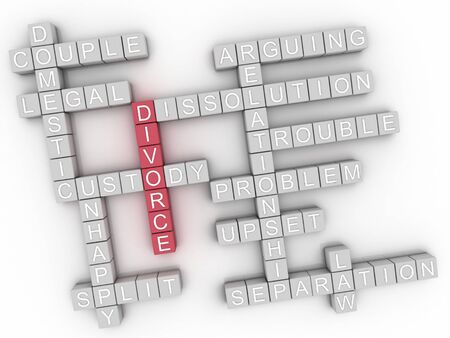 dissolution: 3d image Divorce issues concept word cloud background