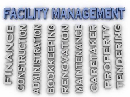 interdisciplinary: 3d image Facility management concept word cloud background