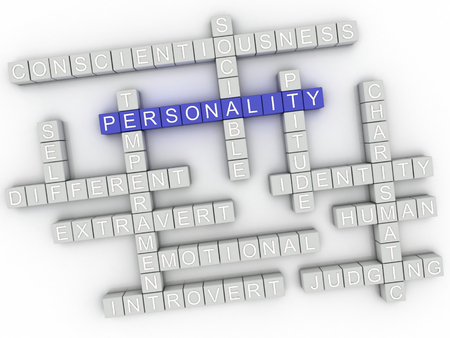 personality: 3d image Personality issues concept word cloud background