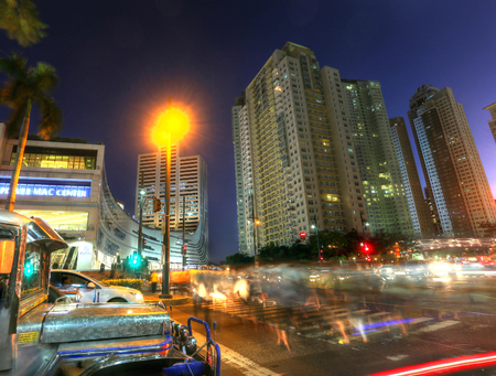 MANILA - MAY 17: Sunset of Bonifacio Global City in Taguig City on May 17, 2015 in Manila, Philippines. In recent years, the district has experienced robust commercial growth through the sale of military land by the BCDA Editorial