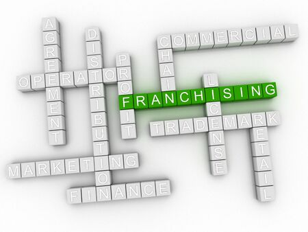franchising: 3d image Franchising issues concept word cloud background Stock Photo