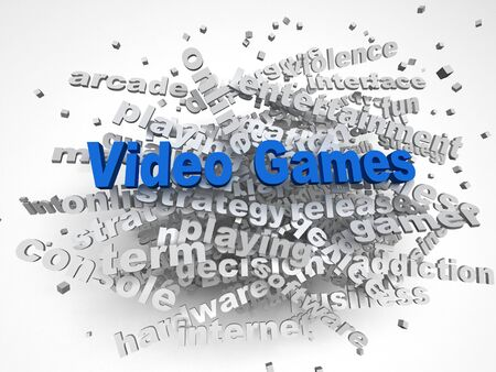artistic addiction: 3d image Video games issues concept word cloud background