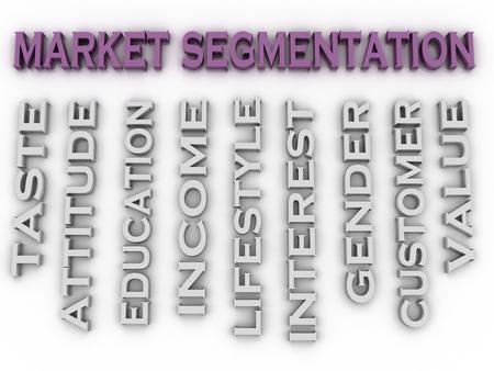 categorize: 3d image Market segmentation  issues concept word cloud background Stock Photo