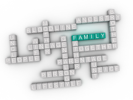 lineage: 3d image Family issues concept word cloud background Stock Photo