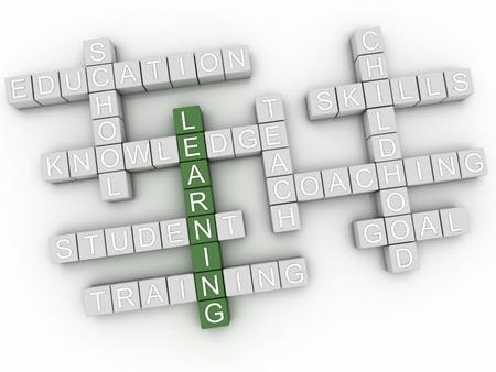educativo: Problemas de aprendizaje imagen 3d concepto de nube de palabras de fondo