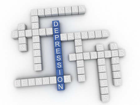 worthless: 3d image Depression issues concept word cloud background Stock Photo