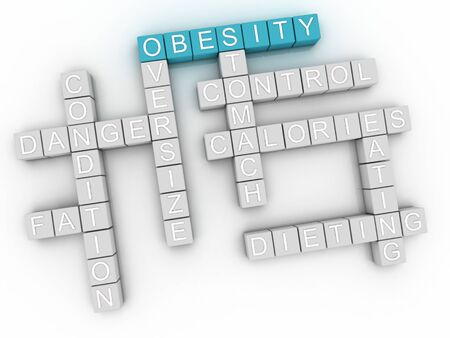 fatness: 3d image Obesity issues concept word cloud background Stock Photo