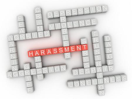 sexuel: 3D image questions de harcèlement notion mot fond de nuage