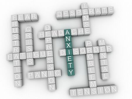 uneasiness: 3d image Anxiety issues concept word cloud background