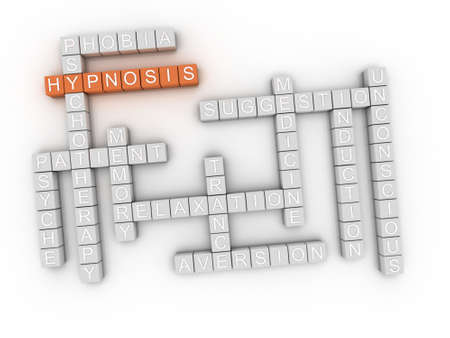 hypnosis: 3d image Hypnosis issues concept word cloud background