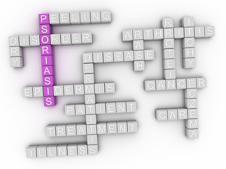 necrosis: 3d image Psoriasis concept word cloud background