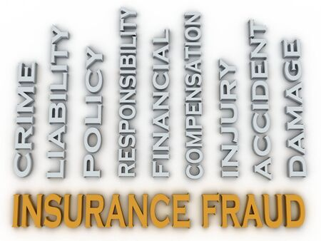 swindle: 3d image Insurance fraud issues concept word cloud background