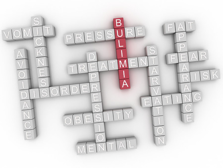 helplessness: 3d image Bulimia word cloud concept