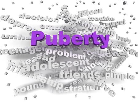 puberty: 3d image Puberty word cloud concept Stock Photo