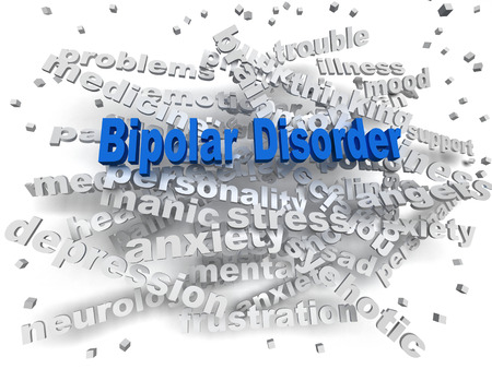 psychosocial: 3d image Bipolar disorder issues concept word cloud background Stock Photo