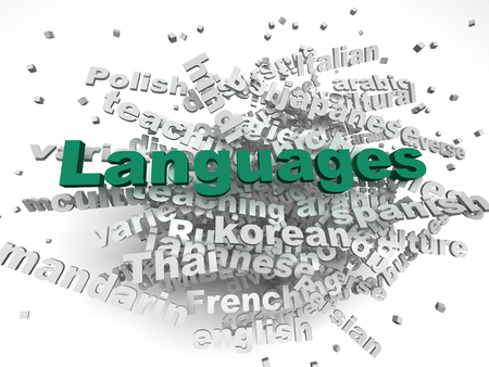 linguistics: 3d image Languages of the world issues concept word cloud background
