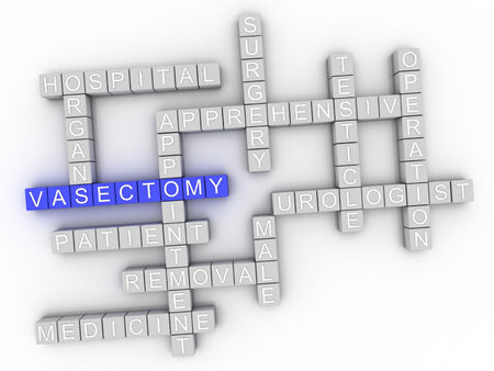 testicle: 3d image Vasectomy issues concept word cloud background