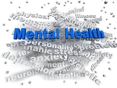 3d image Mental health word cloud concept