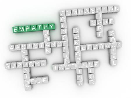 empatia: Imagen 3d Empatía emite concepto de nube de palabras de fondo Foto de archivo