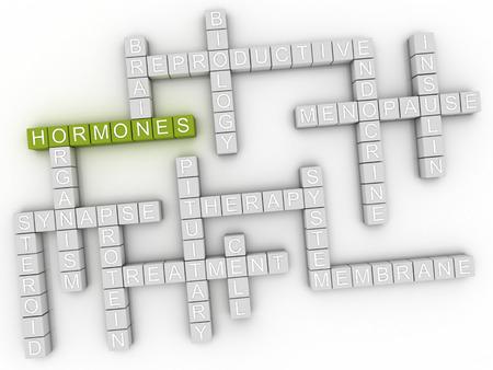 hormonas: Imagen 3d Hormonas cuestiones concepto de nube de palabras de fondo