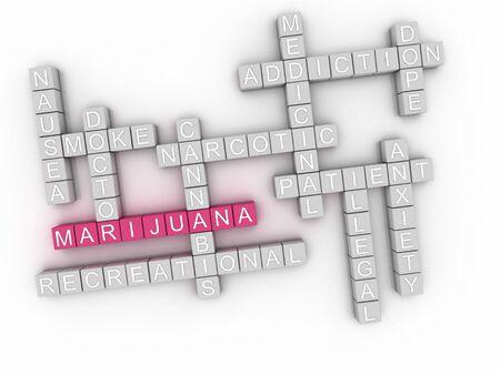 hashish: 3d image Marijuana word cloud concept Stock Photo