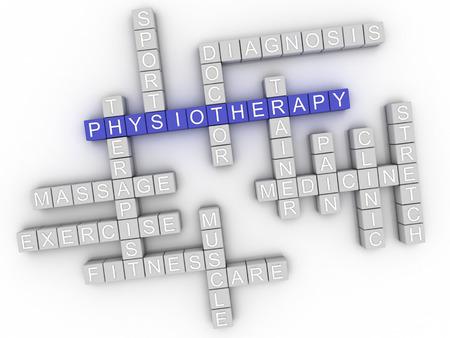 fisioterapia: la imagen en 3D concepto de fisioterapia nube de palabras