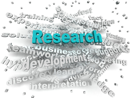 research: Investigación imagen 3d concepto de nube de palabras