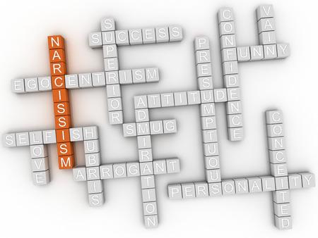ego�sta: 3d imagen del concepto narcisismo nube de palabras