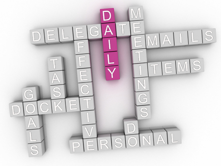 delegate: 3d image Daily word cloud concept
