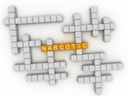 narcotics: 3d image Narcotic word cloud concept Stock Photo