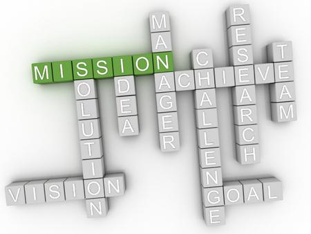 mision: 3d concepto de imagen Misión nube de palabras