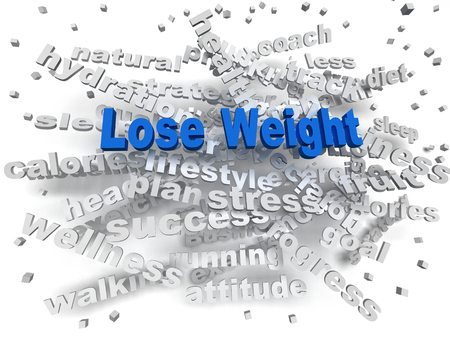 3d image Lose weight word cloud concept Stock Photo