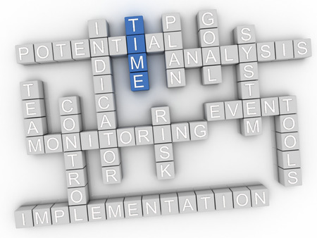 estimating: 3d image Time word cloud concept Stock Photo