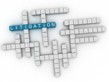 litigation: 3d image Litigation word cloud concept Stock Photo
