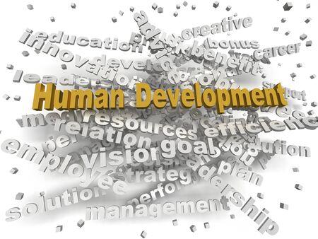 relaciones laborales: la imagen en 3D concepto de Desarrollo Humano nube de palabras