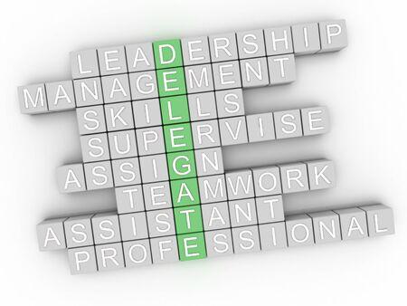 delegate: 3d image Delegate word cloud concept