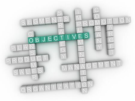 3d image Objectives word cloud concept Stock Photo
